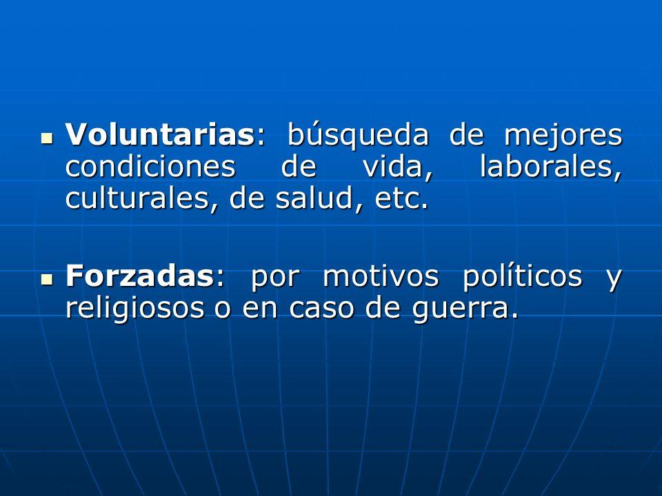 Voluntarias: búsqueda de mejores condiciones de vida, laborales, culturales, de salud, etc.