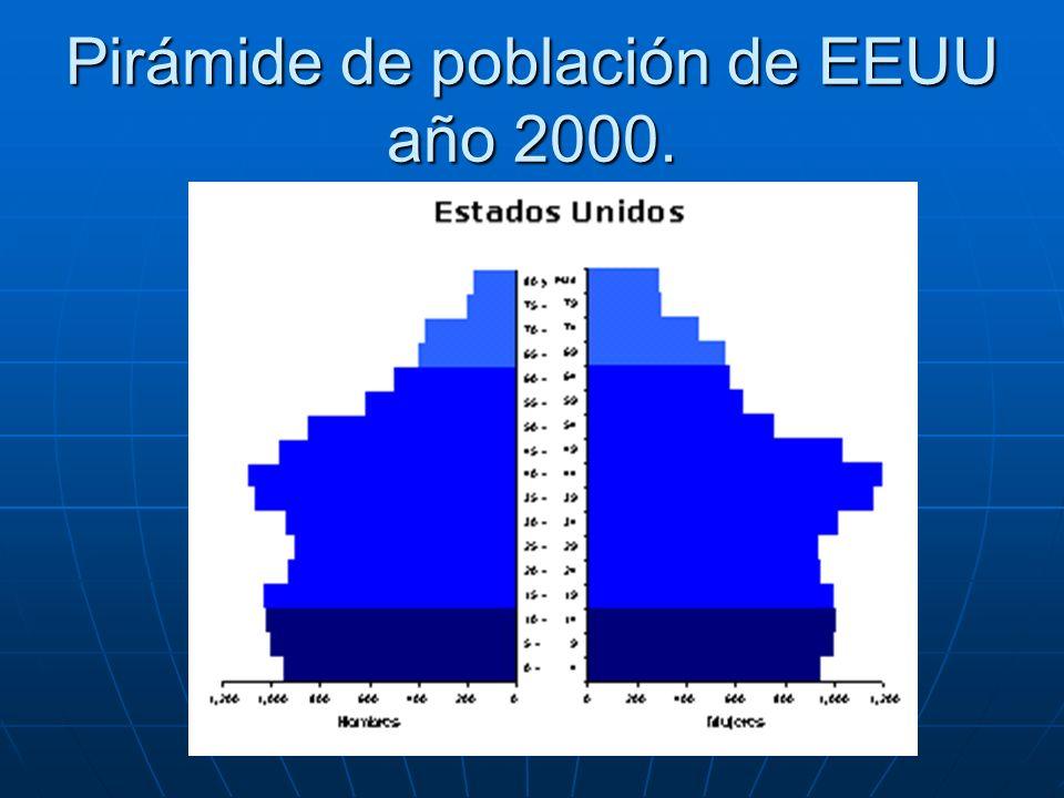 Pirámide de población de EEUU año 2000.