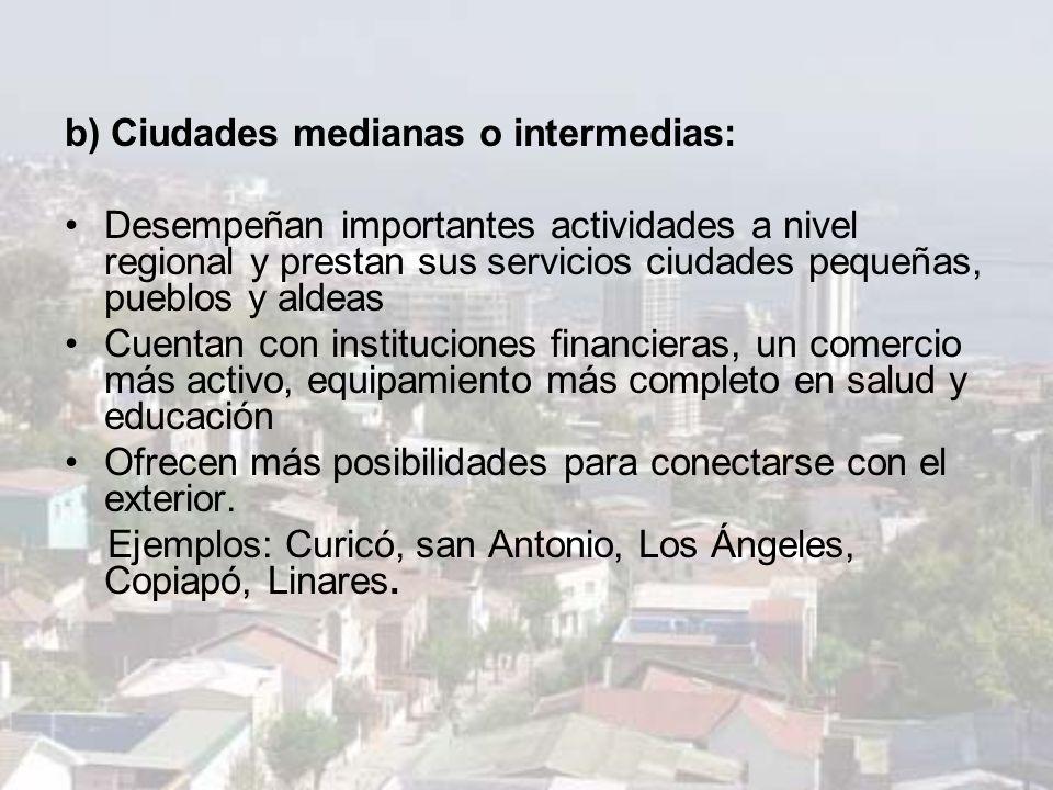 b) Ciudades medianas o intermedias: