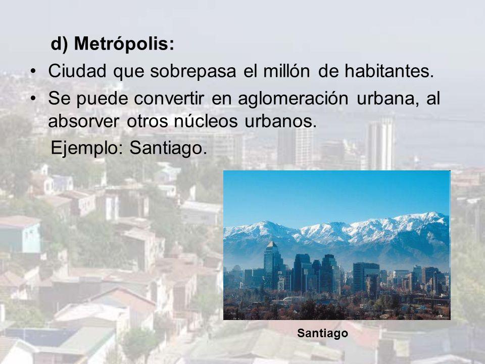 Ciudad que sobrepasa el millón de habitantes.