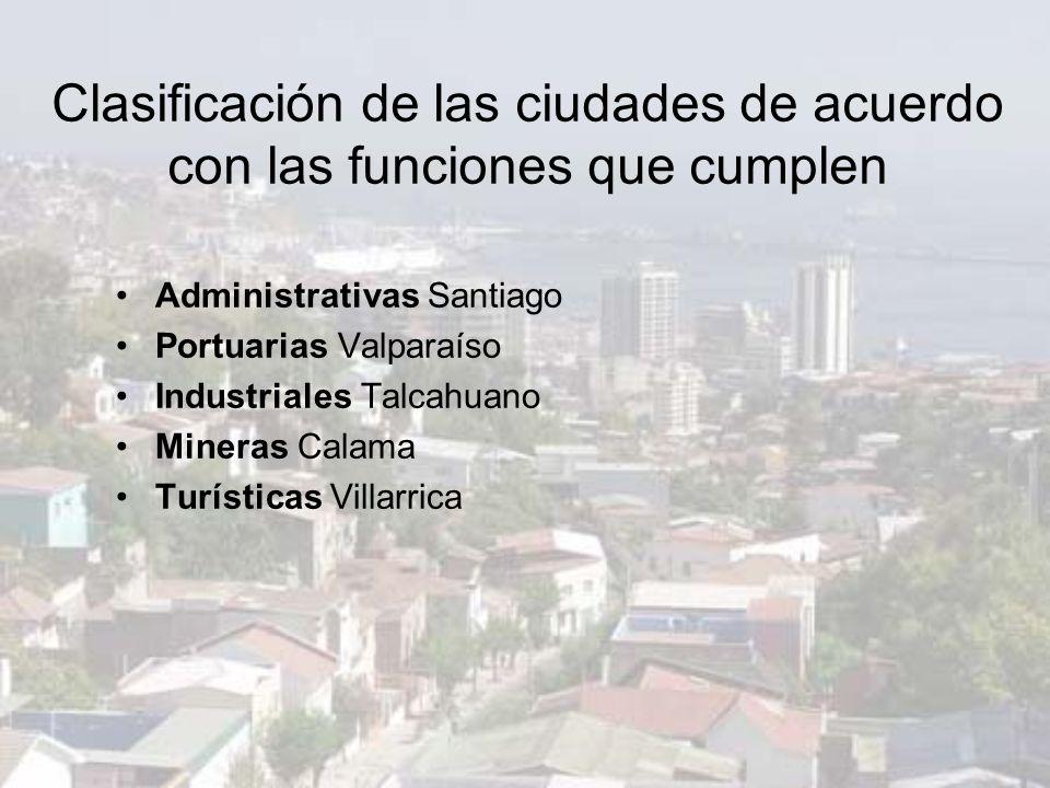 Clasificación de las ciudades de acuerdo con las funciones que cumplen