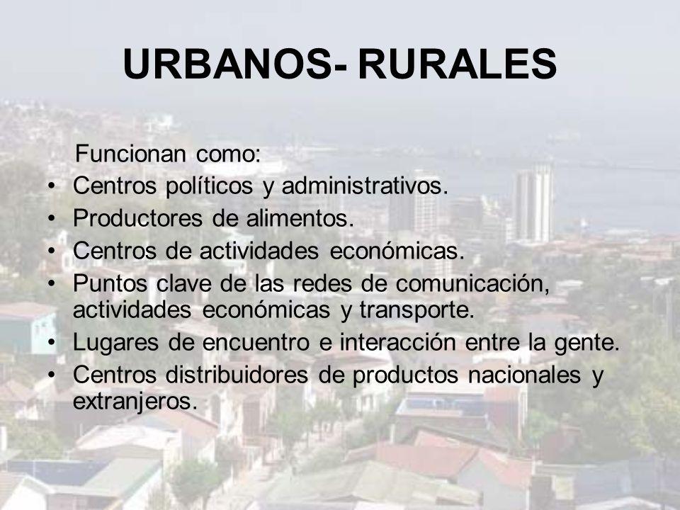 URBANOS- RURALES Funcionan como: Centros políticos y administrativos.