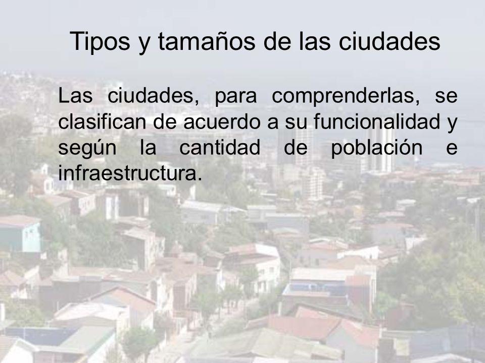 Tipos y tamaños de las ciudades