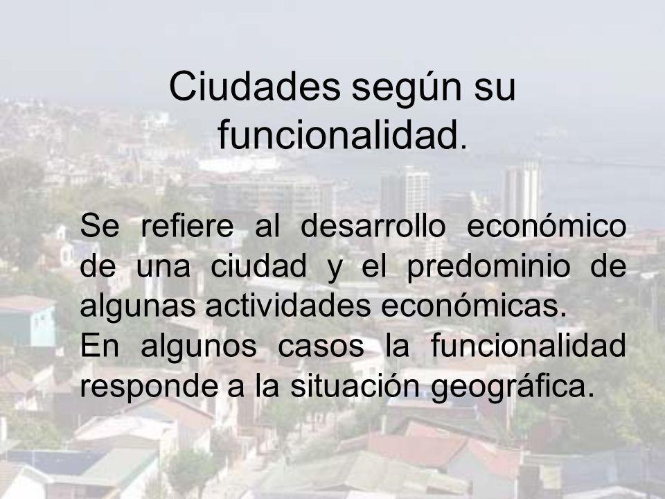 Ciudades según su funcionalidad.