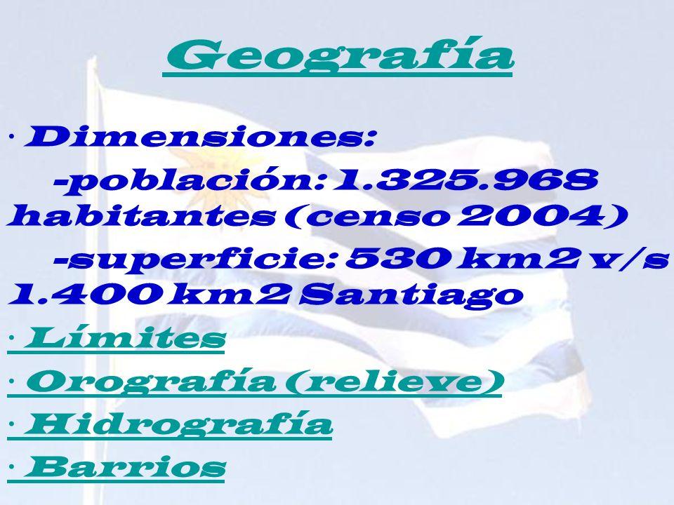 Geografía · Dimensiones: -población: 1.325.968 habitantes (censo 2004)
