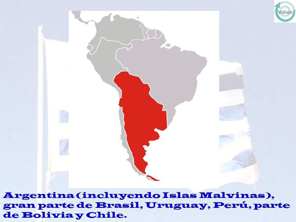 Argentina (incluyendo Islas Malvinas), gran parte de Brasil, Uruguay, Perú, parte de Bolivia y Chile.