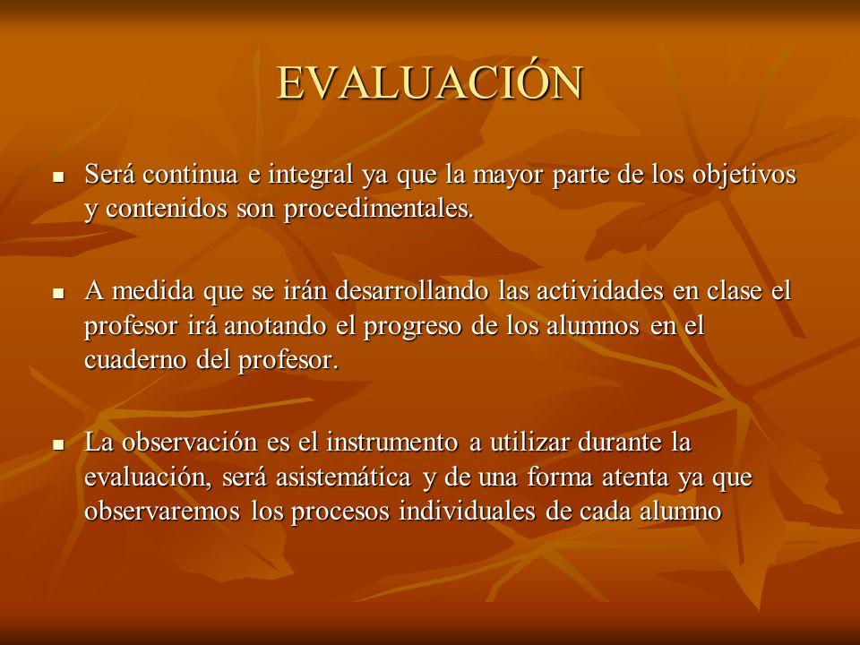 EVALUACIÓN Será continua e integral ya que la mayor parte de los objetivos y contenidos son procedimentales.