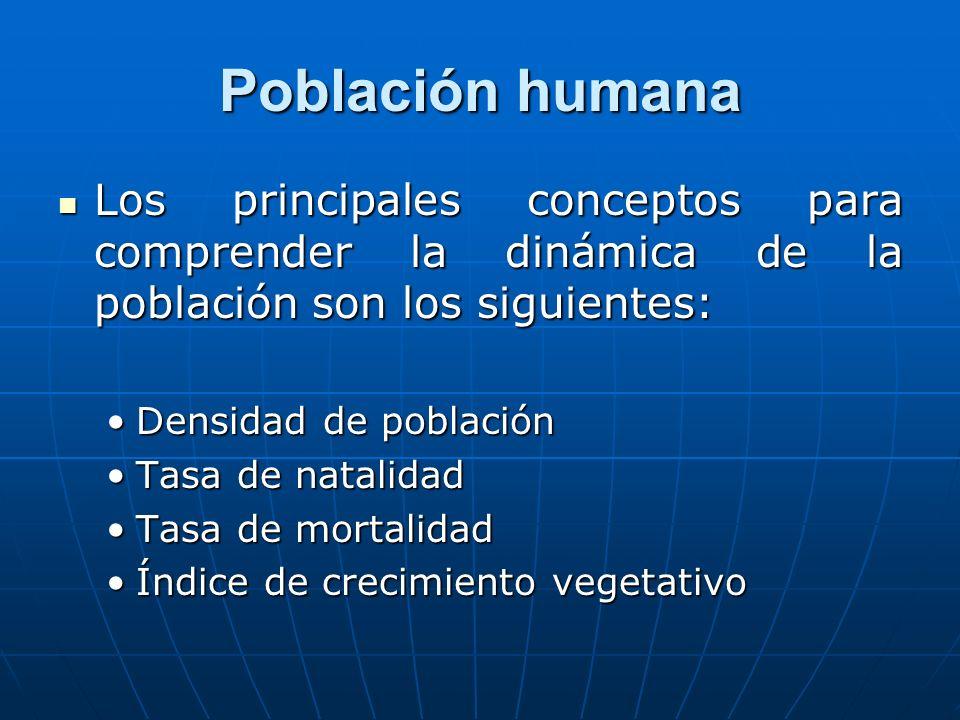 Población humana Los principales conceptos para comprender la dinámica de la población son los siguientes: