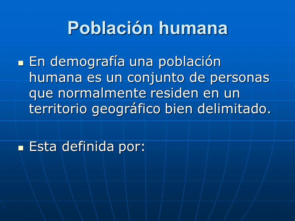 Población humana En demografía una población humana es un conjunto de personas que normalmente residen en un territorio geográfico bien delimitado.