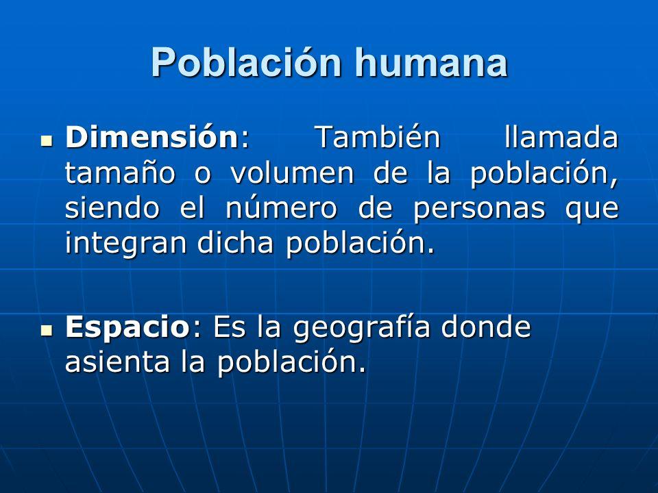 Población humanaDimensión: También llamada tamaño o volumen de la población, siendo el número de personas que integran dicha población.