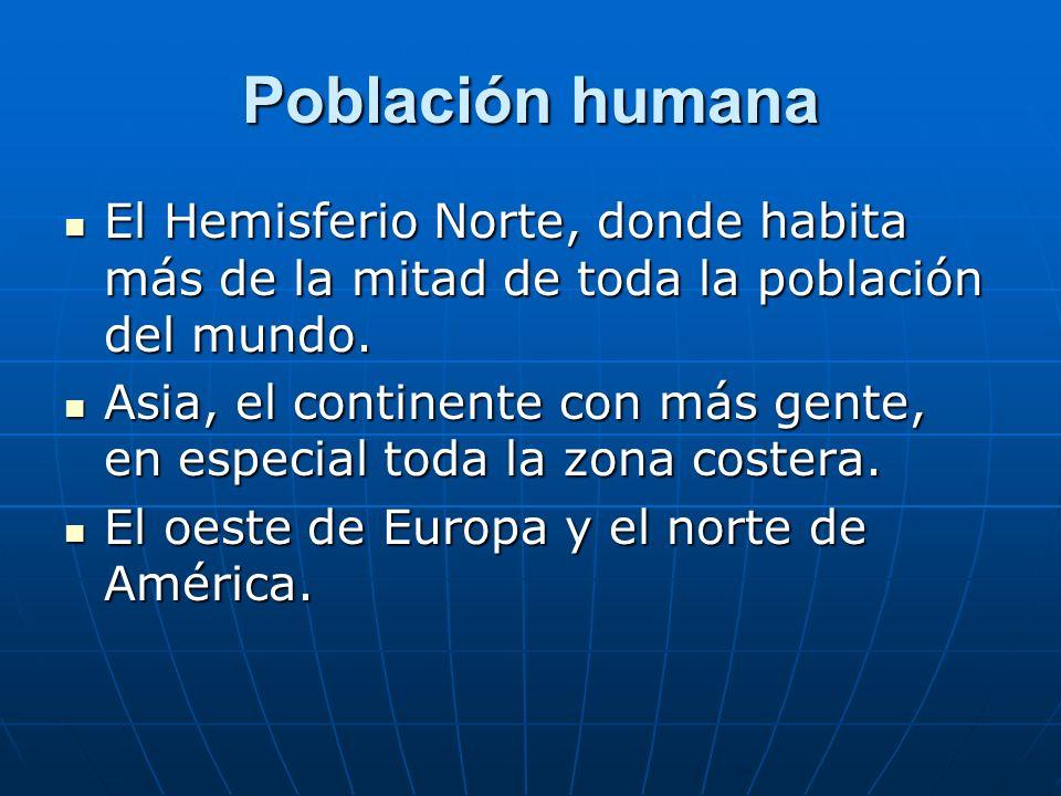 Población humanaEl Hemisferio Norte, donde habita más de la mitad de toda la población del mundo.
