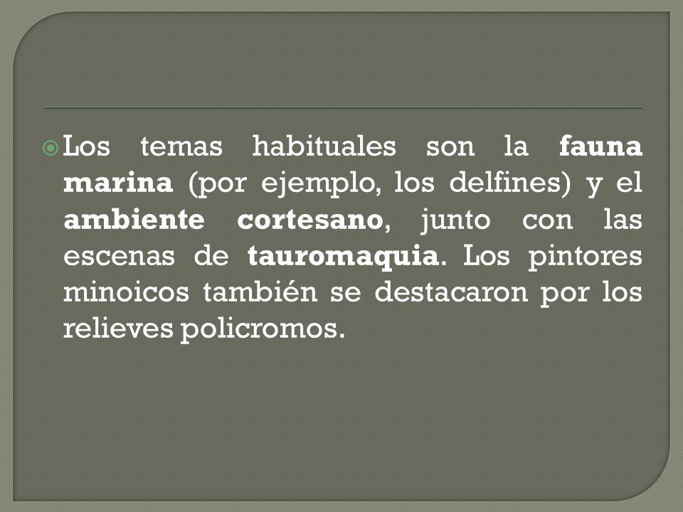 Los temas habituales son la fauna marina (por ejemplo, los delfines) y el ambiente cortesano, junto con las escenas de tauromaquia.