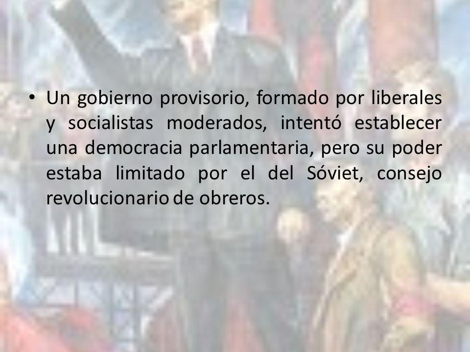 Un gobierno provisorio, formado por liberales y socialistas moderados, intentó establecer una democracia parlamentaria, pero su poder estaba limitado por el del Sóviet, consejo revolucionario de obreros.