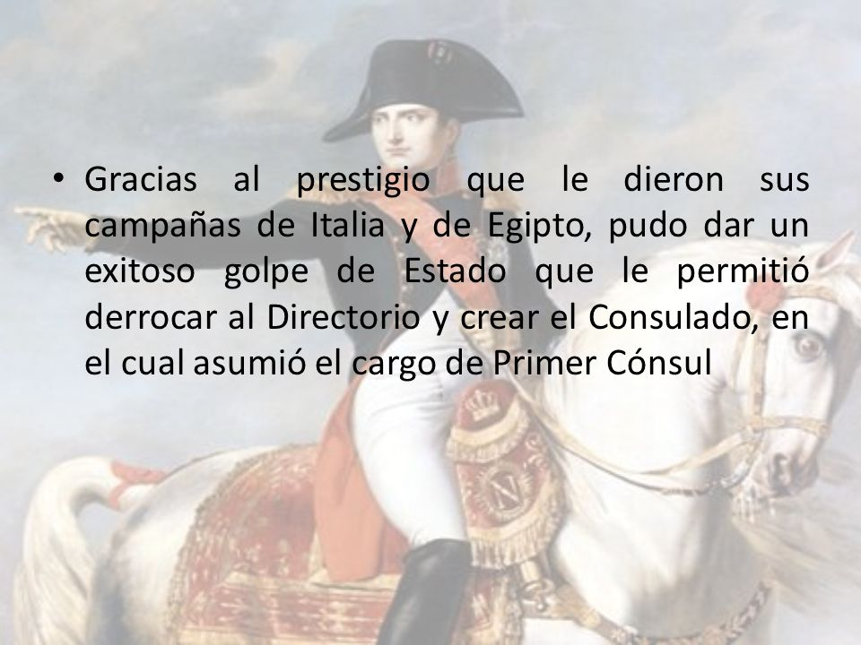 Gracias al prestigio que le dieron sus campañas de Italia y de Egipto, pudo dar un exitoso golpe de Estado que le permitió derrocar al Directorio y crear el Consulado, en el cual asumió el cargo de Primer Cónsul