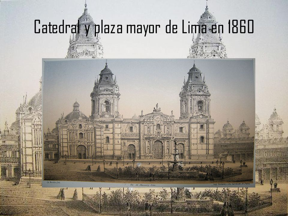 Catedral y plaza mayor de Lima en 1860