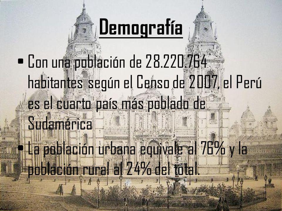 Demografía Con una población de 28.220.764 habitantes según el Censo de 2007, el Perú es el cuarto país más poblado de Sudamérica.