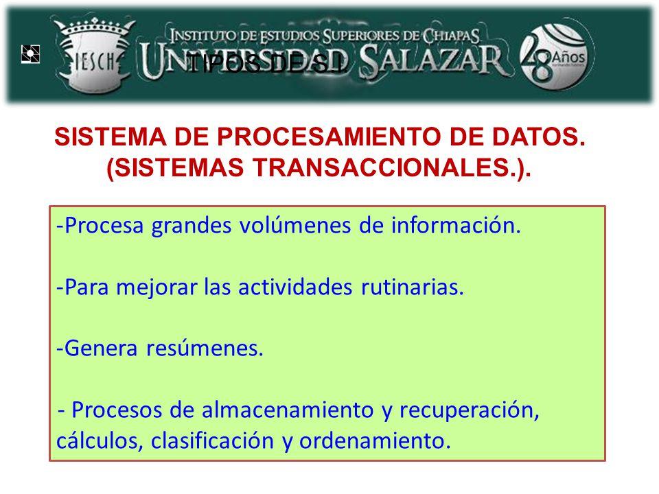 SISTEMA DE PROCESAMIENTO DE DATOS. (SISTEMAS TRANSACCIONALES.).