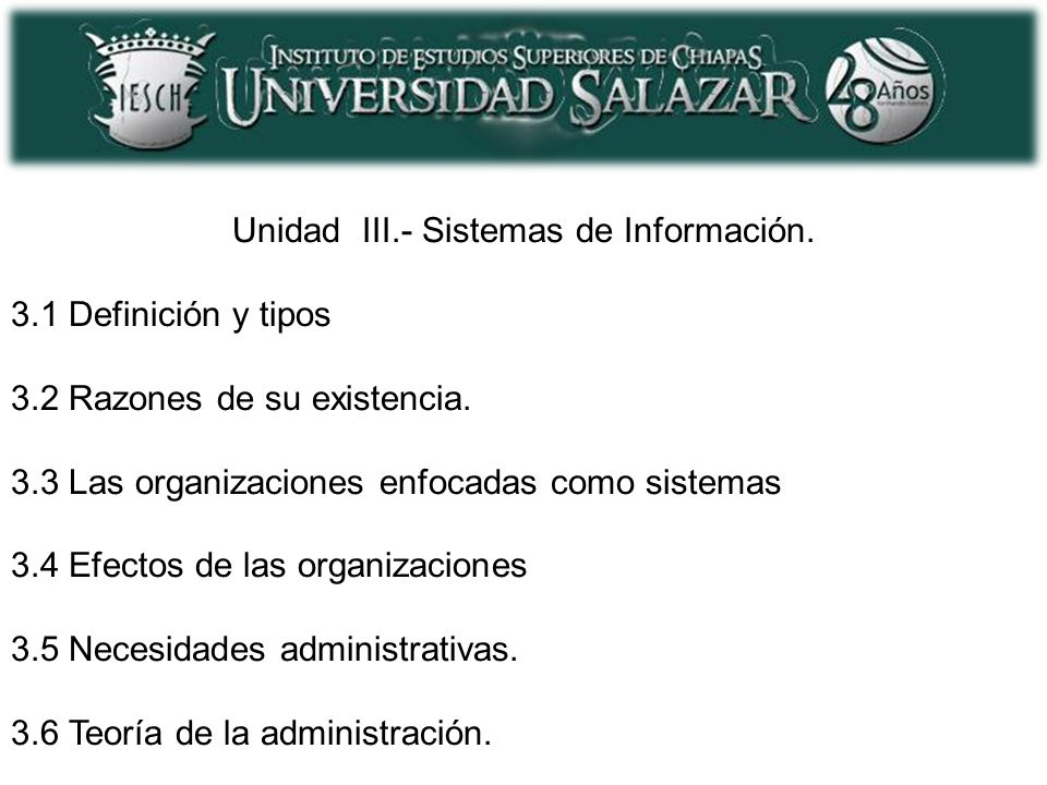 Unidad III.- Sistemas de Información.