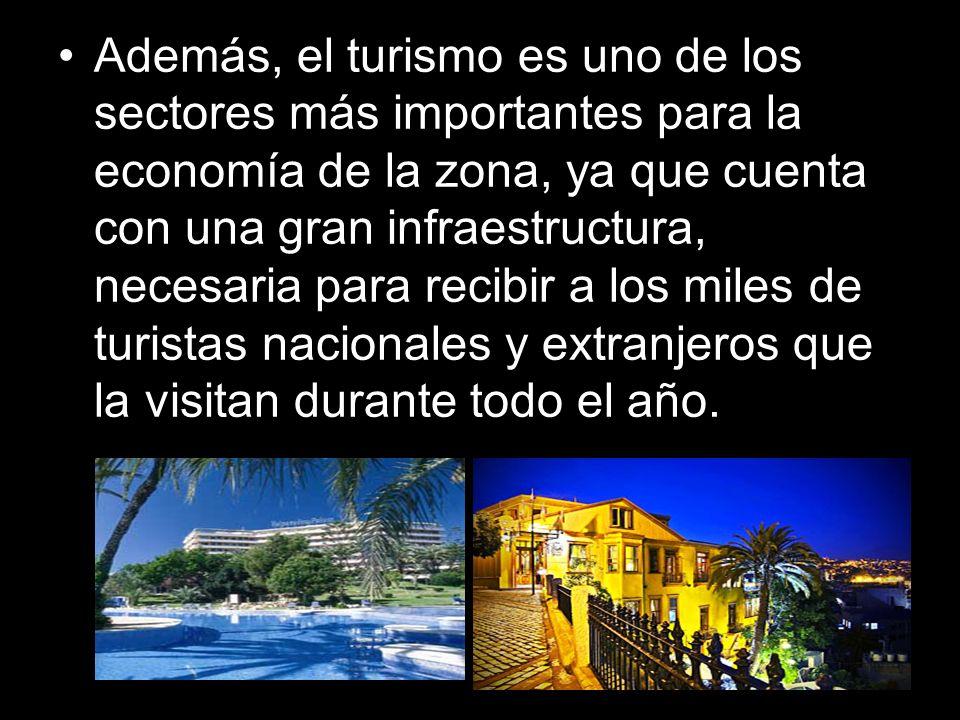Además, el turismo es uno de los sectores más importantes para la economía de la zona, ya que cuenta con una gran infraestructura, necesaria para recibir a los miles de turistas nacionales y extranjeros que la visitan durante todo el año.