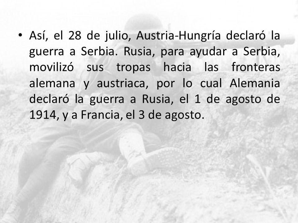 Así, el 28 de julio, Austria-Hungría declaró la guerra a Serbia