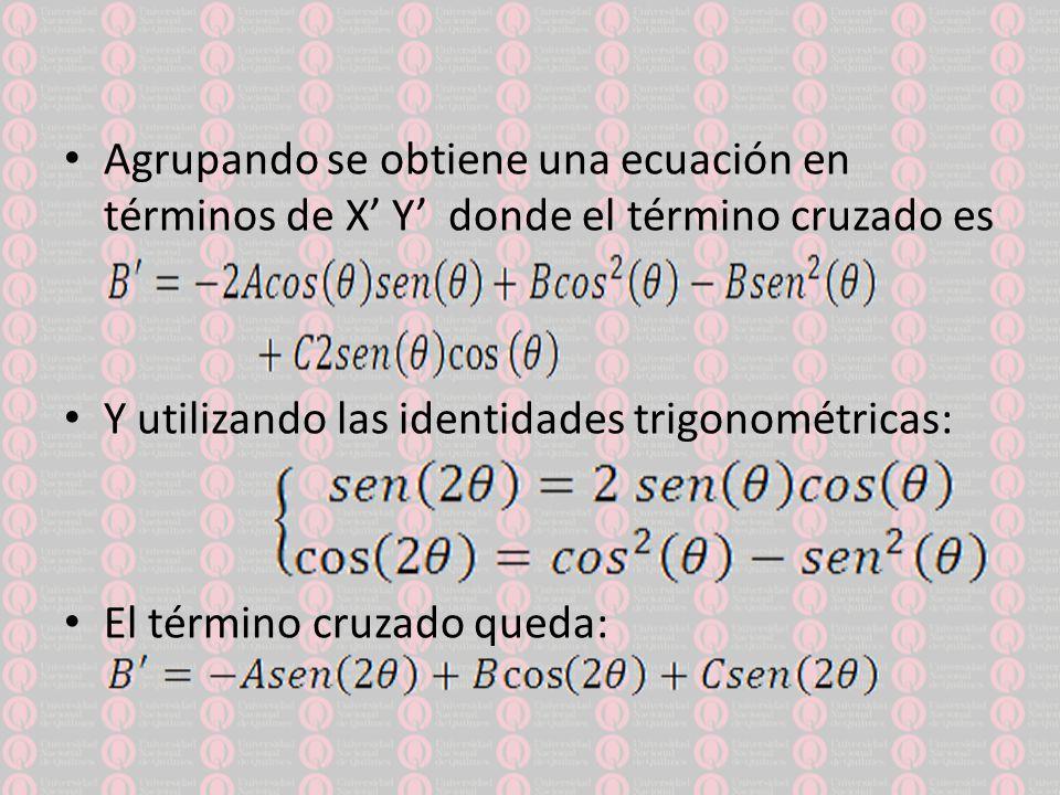 Agrupando se obtiene una ecuación en términos de X' Y' donde el término cruzado es