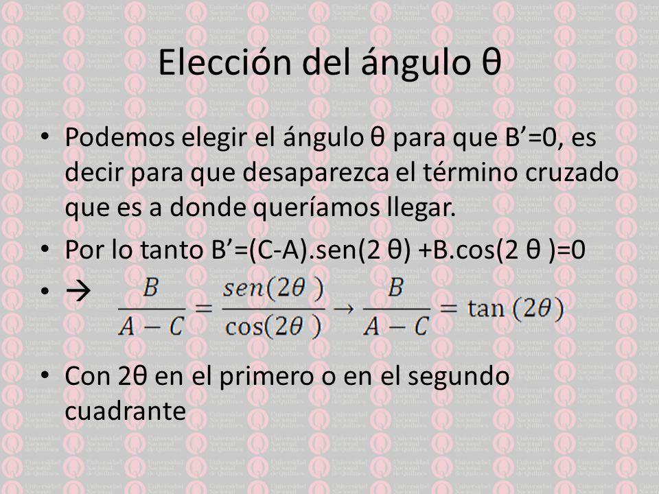 Elección del ángulo θ Podemos elegir el ángulo θ para que B'=0, es decir para que desaparezca el término cruzado que es a donde queríamos llegar.