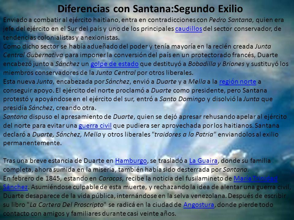Diferencias con Santana:Segundo Exilio