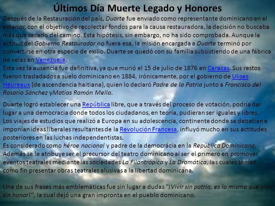 Últimos Día Muerte Legado y Honores