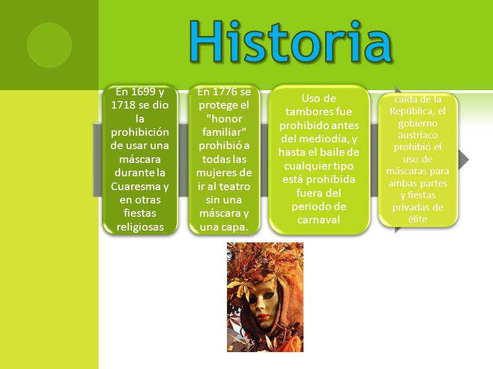 Historia En 1699 y 1718 se dio la prohibición de usar una máscara durante la Cuaresma y en otras fiestas religiosas.