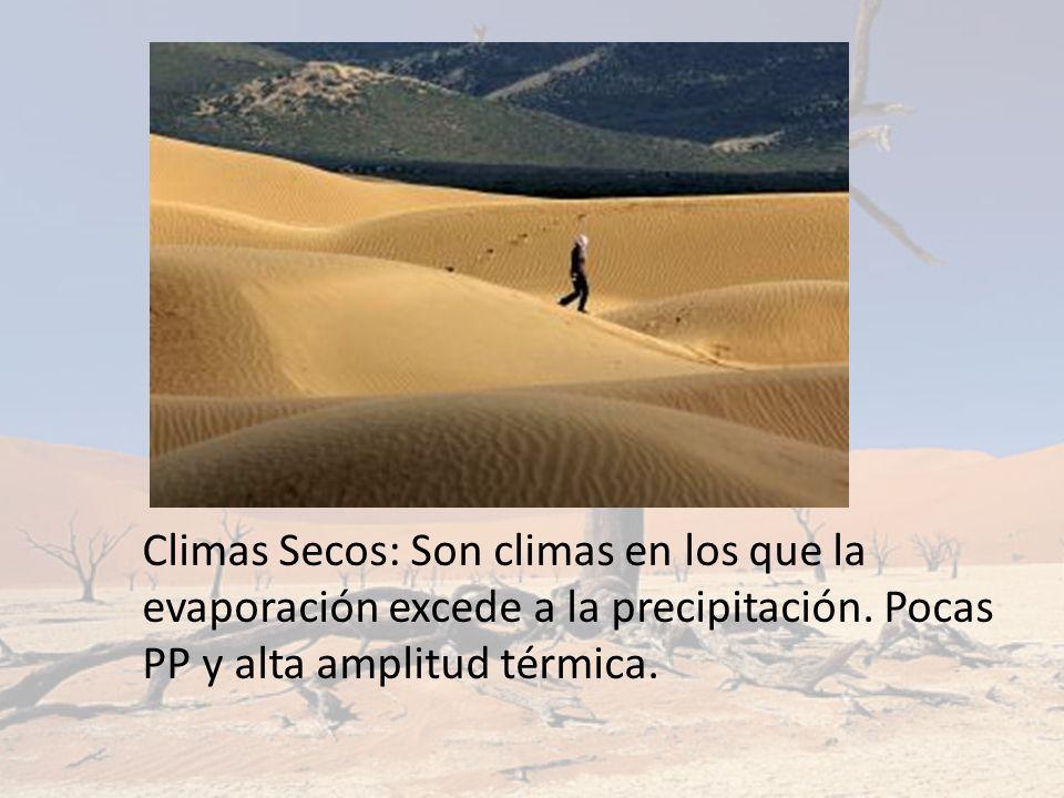 Climas Secos: Son climas en los que la evaporación excede a la precipitación.