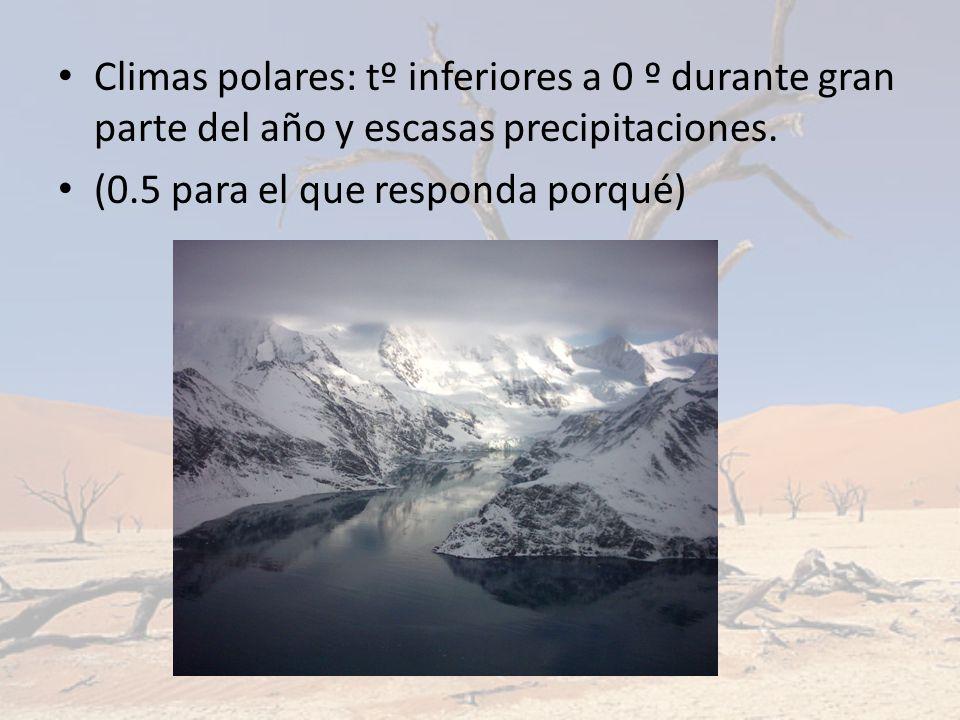 Climas polares: tº inferiores a 0 º durante gran parte del año y escasas precipitaciones.