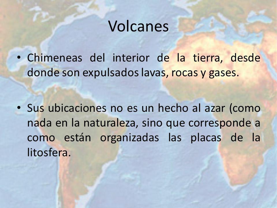 Volcanes Chimeneas del interior de la tierra, desde donde son expulsados lavas, rocas y gases.