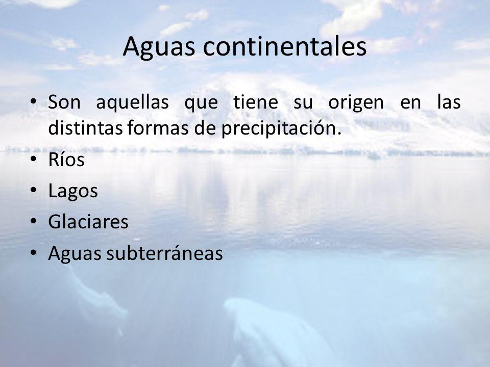 Aguas continentales Son aquellas que tiene su origen en las distintas formas de precipitación. Ríos.