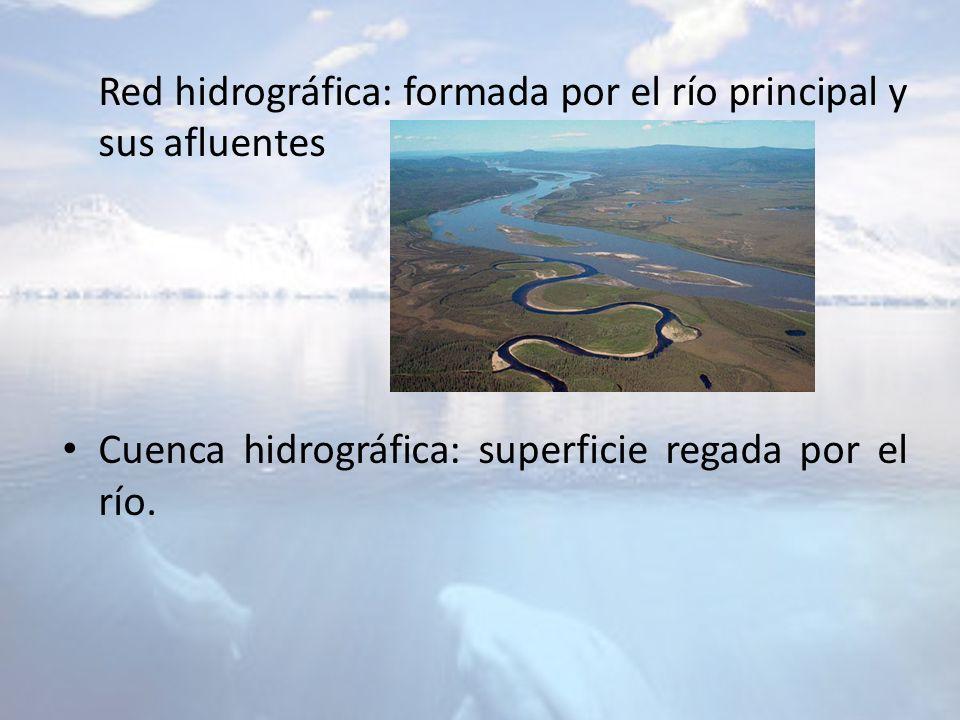 Red hidrográfica: formada por el río principal y sus afluentes