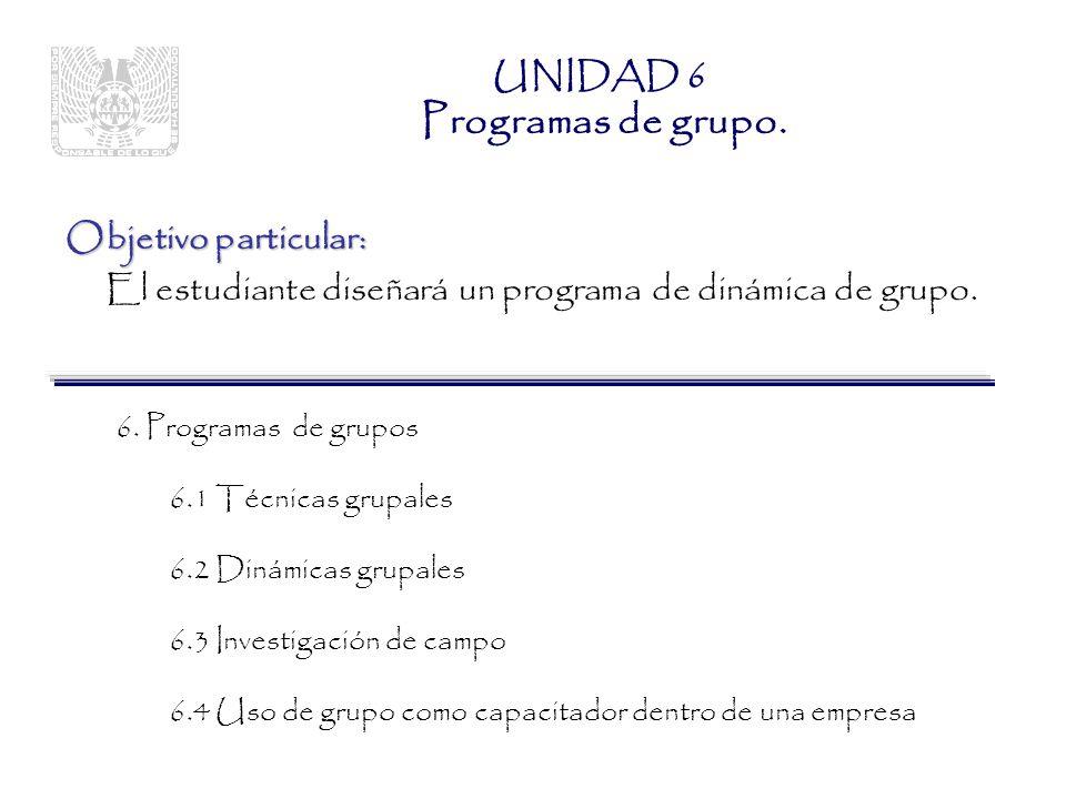 UNIDAD 6 Programas de grupo.
