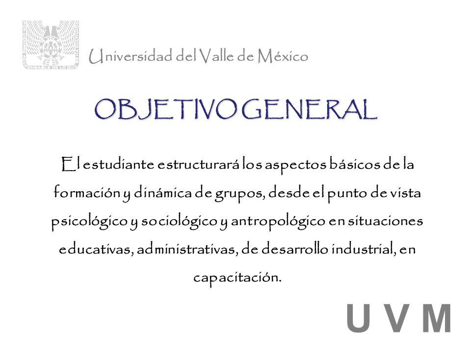 U V M OBJETIVO GENERAL Universidad del Valle de México