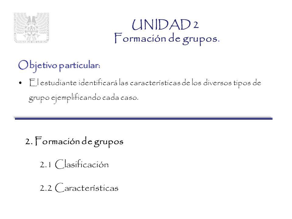UNIDAD 2 Formación de grupos.