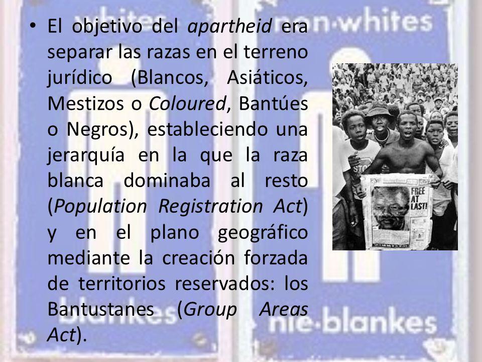 El objetivo del apartheid era separar las razas en el terreno jurídico (Blancos, Asiáticos, Mestizos o Coloured, Bantúes o Negros), estableciendo una jerarquía en la que la raza blanca dominaba al resto (Population Registration Act) y en el plano geográfico mediante la creación forzada de territorios reservados: los Bantustanes (Group Areas Act).