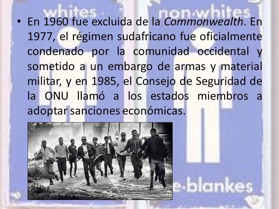 En 1960 fue excluida de la Commonwealth
