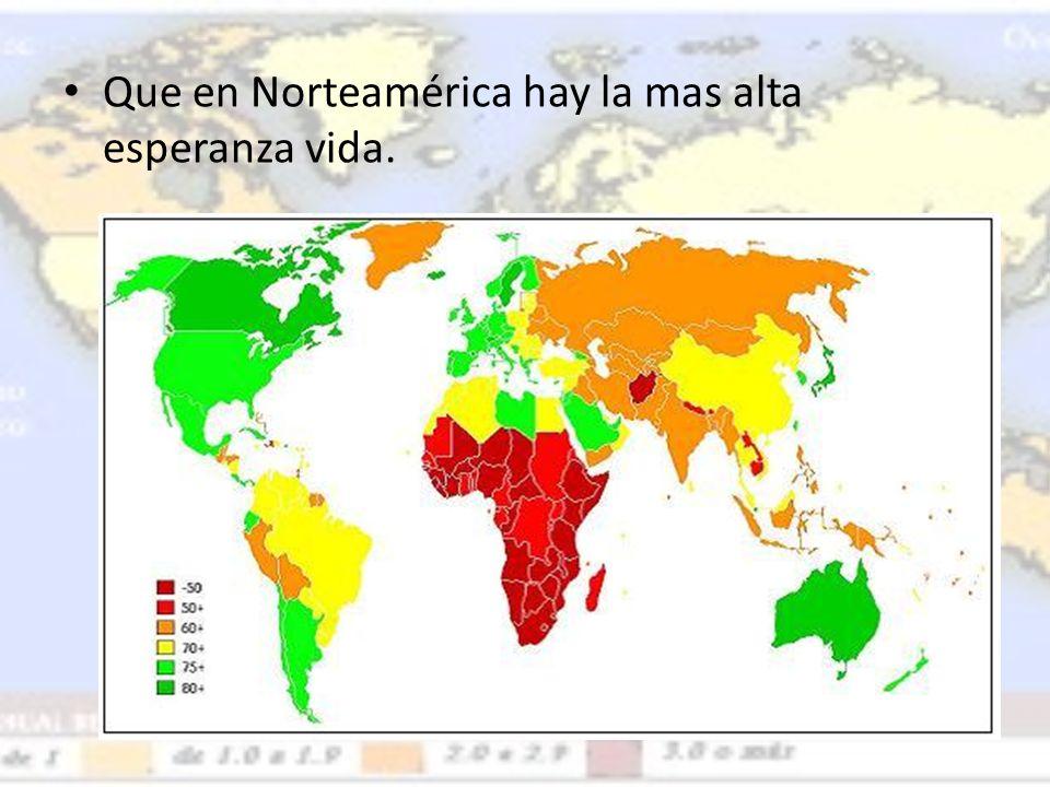 Que en Norteamérica hay la mas alta esperanza vida.