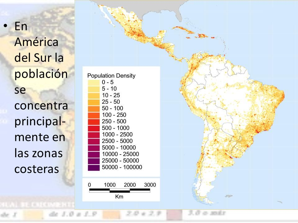 En América del Sur la población se concentra principal-mente en las zonas costeras