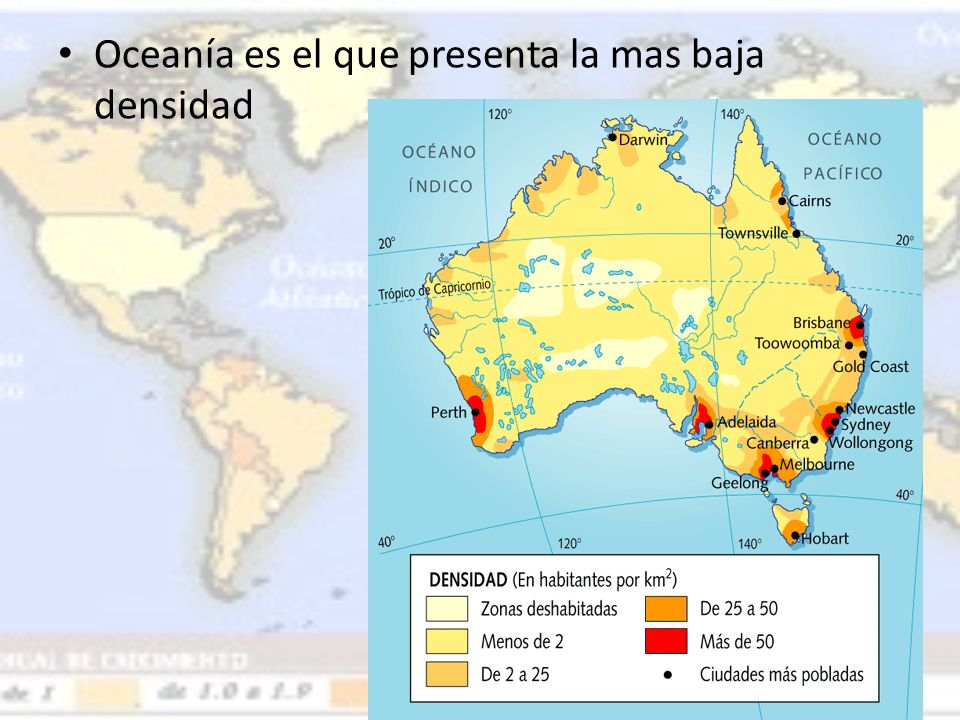 Oceanía es el que presenta la mas baja densidad