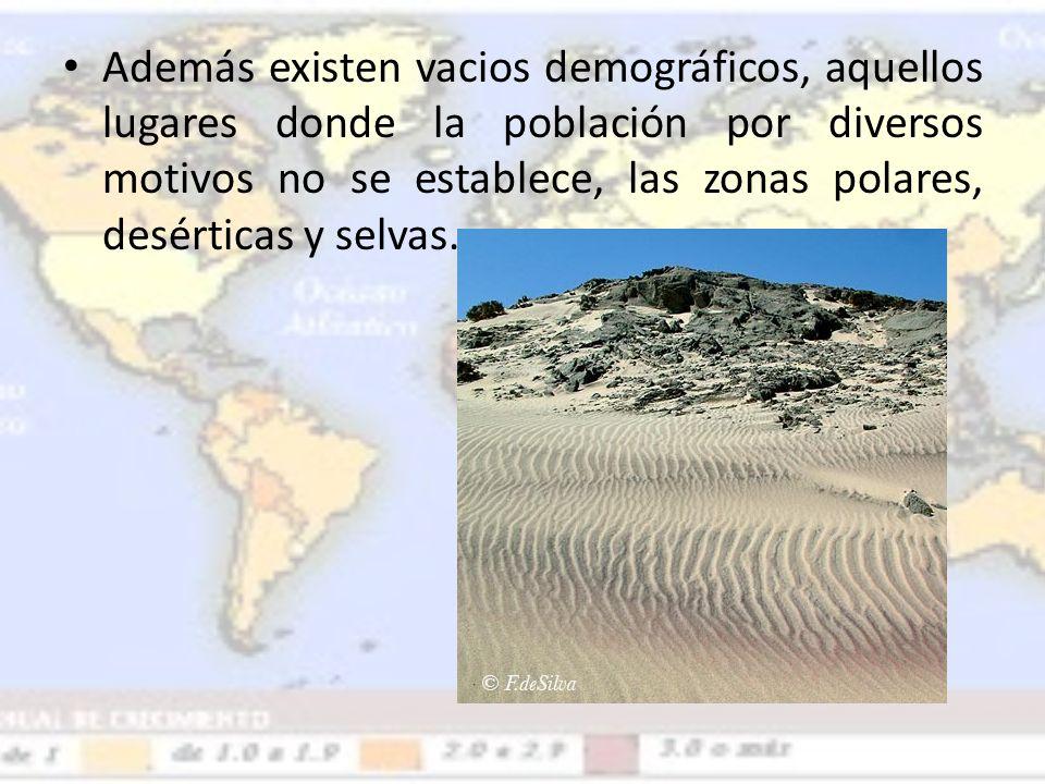 Además existen vacios demográficos, aquellos lugares donde la población por diversos motivos no se establece, las zonas polares, desérticas y selvas.