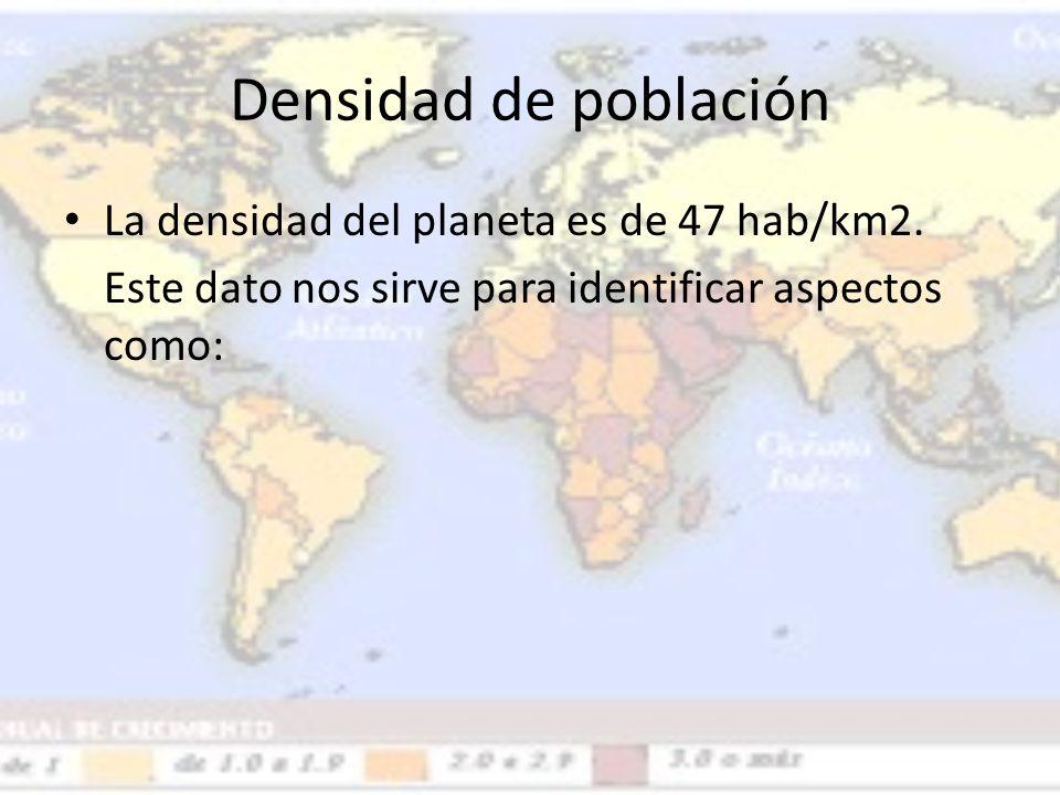 Densidad de población La densidad del planeta es de 47 hab/km2.