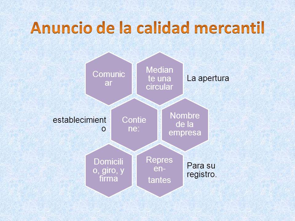 Anuncio de la calidad mercantil