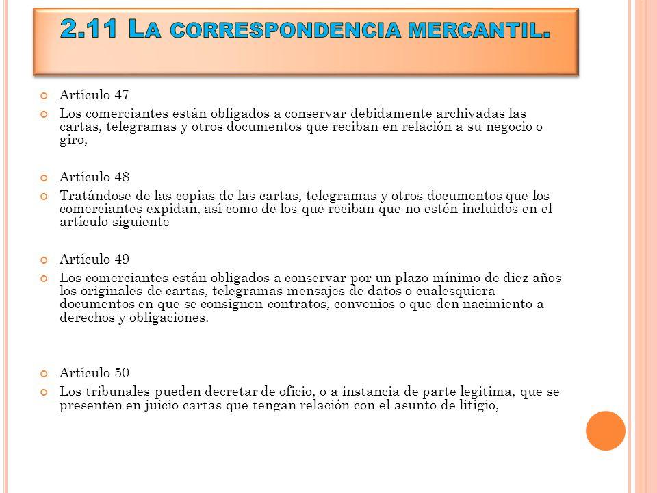 2.11 La correspondencia mercantil.