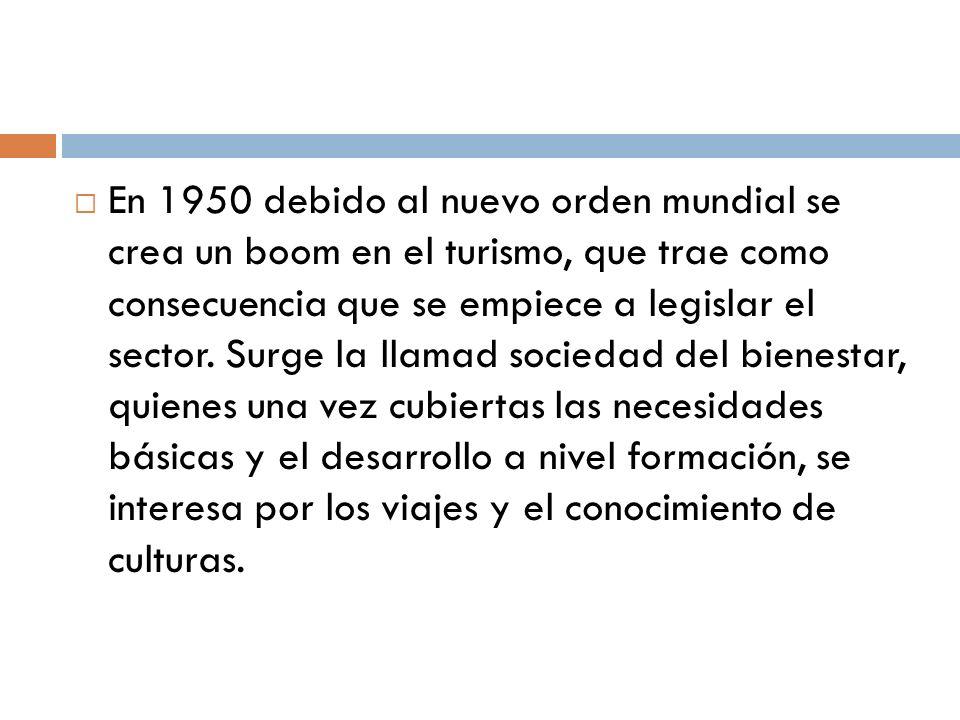 En 1950 debido al nuevo orden mundial se crea un boom en el turismo, que trae como consecuencia que se empiece a legislar el sector.