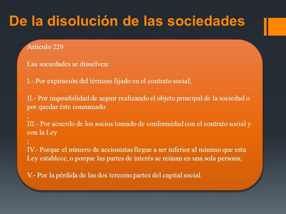De la disolución de las sociedades
