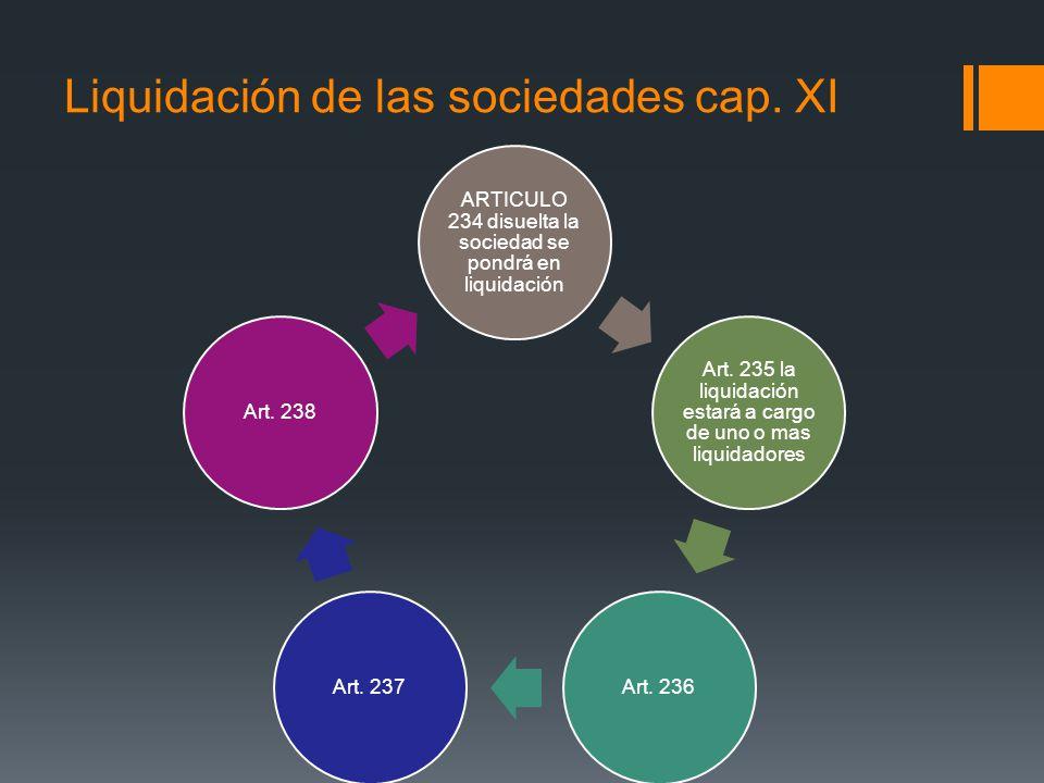 Liquidación de las sociedades cap. XI