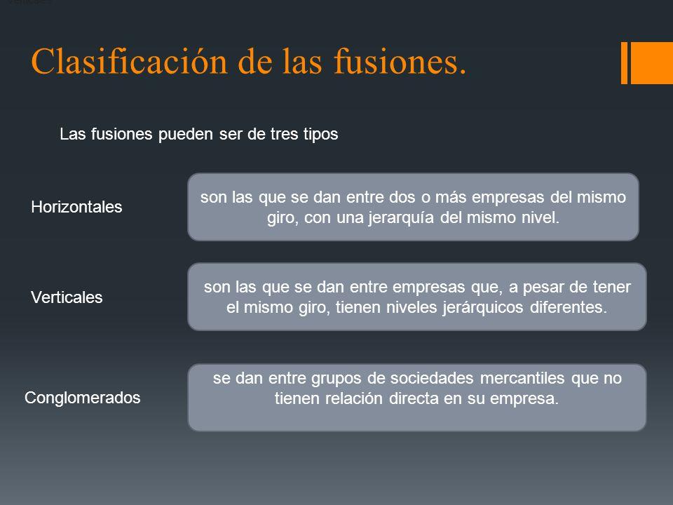 Clasificación de las fusiones.